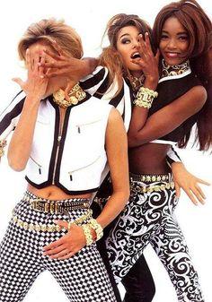 Emma Sjoberg, Susan Holmes, and Beverly Peele for Versace