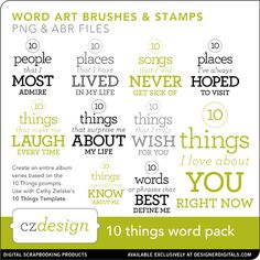 Cathy Zielske 10 Things Word Pack
