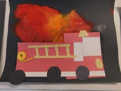 Tots and Me. Growing Up Together: Littles Learning Link Up: October 2016 Craft Highlight- Shape Firetruck on Flame Painting Fall Preschool Activities, Preschool Art Projects, Kindergarten Fun, Art Activities, Preschool Crafts, Fire Crafts, Man Crafts, Toddler Crafts, Crafts For Kids