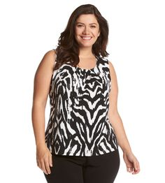 Kasper® Plus Size Zebra Pleat Neck Cami