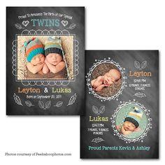 "Chalkboard TWINS Baby Announcement 5"" X 7"" Digital File"