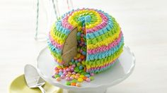 What's better than a cake piñata? Cutting into it to reveal matching candies, of course! Coordinate the cake's colors and candies to your party theme for an extra touch.