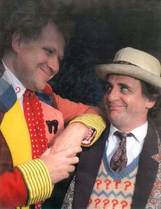 """Colin Baker and Sylvester McCoy as two of the Doctors Who--Doctors Who Numbers Six and Seven respectively. """"The Trial Of A Time Lord"""" had proven to be a ratings disaster, for which Colin Baker was unfairly blamed. Doctor Who Tv, First Doctor, Sylvester Mccoy, Colin Baker, Jon Pertwee, William Hartnell, Classic Doctor Who, 13th Doctor, Bbc Tv Series"""