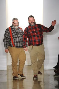The men of Costello Tagliapietra, Jeffrey Costello & Robert Tagliapietra. Chubby Men Fashion, Mens Plus Size Fashion, Large Men Fashion, Plus Size Mens Clothing, Fat Fashion, Teen Boy Fashion, Winter Fashion, Smart Casual Menswear, Scruffy Men