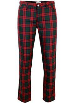 Slim Leg Retro Mod Tartan Trousers in Black Watch/Red from Madcap England  #madcapengland #tartan #trews #trousers #mod #retro #mens #fashion