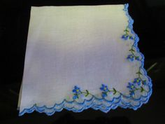VINTAGE COTTON HANKIE HANDKERCHIEF BLUE EMBROIDERED FLOWERS AND RIM 11X11