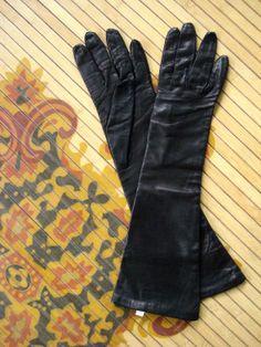 Vintage 1980s Black Leather Gloves 2013677