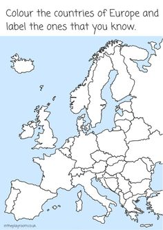 Europe Coloring Map of countries  Continent Box  Europe