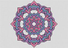 Mandala nudos KIT Cross Stitch Kit - punto de Cruz hecho a mano nudo céltico moderno - Kit completo con cuenta 16 Aida y la seda DMC