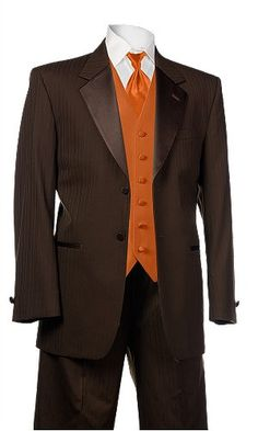 Tuxes for the groomsmen, from Al's Formalwear. Chocolate tux with burnt orange vest and orange crush tie.