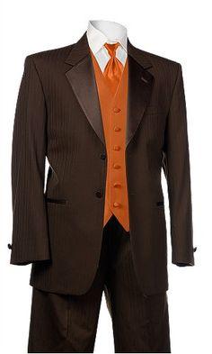 Chocolate tux with burnt orange vest and orange crush tie...SHARP!