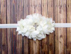 Baptism Headband,Christening Headband, Ivory Baptism Headband,Ivory Christening Headband,Cross Headband,Ivory Headband with Cross, Headband by kendallsklozet. Explore more products on http://kendallsklozet.etsy.com