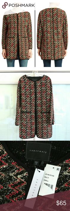 NWT Sanctuary Chevron Print City Coat Jacket. S NWT and no defects. Wear as a jacket or zipped up as a tunic! Multi-colored.. some red, gray, black, and cream in there. Sanctuary Jackets & Coats Trench Coats