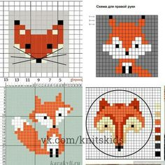 Simple Cross Stitch, Cross Stitch Bird, Cross Stitch Animals, Counted Cross Stitch Patterns, Cross Stitching, Cross Stitch Embroidery, Knitting Patterns, Crochet Patterns, Crochet Fox