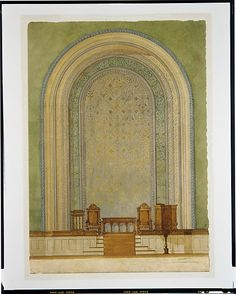 Design for Chancel wall,  Louis Comfort Tiffany. Watercolor, pen and ink, aluminum wash, and graphite on wove paper. First Reformed Church, Albany, New York.