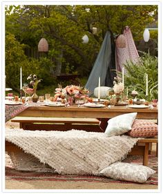 The Boho Dance: Beautifully Bohemian Wedding Decor: Lots of candles, small floral arrangements, plus loads of comfy throws and pillows make this an inviting, lively space. Scott Clark Photo via 100 Layer Cake Outdoor Dining, Outdoor Spaces, Outdoor Seating, Outdoor Decor, Glamping, Bohemian Wedding Decorations, Boho Wedding, Wedding Ideas, Bohemian Weddings
