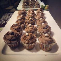 Mini vanilla cupcakes with dark chocolate Swiss meringue buttercream.
