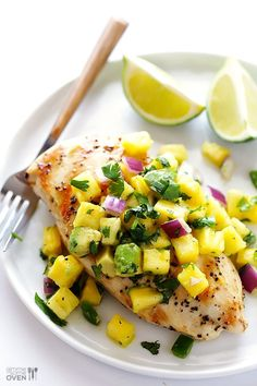 Gimme Some Oven | Grilled Chicken with Pineapple Avocado Salsa | http://www.gimmesomeoven.com