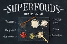 Superfoods on black chalkboard by Foxys on Creative Market