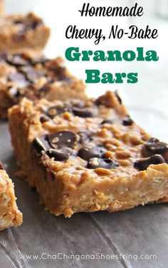 Chewy, No-Bake Granola Bars - SO easy and delicious! Swap nuts for oats and drizzle coconut oil chocolate for the chocolate chips.