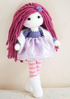 Handmade Crochet Dolls by LinaMarieDolls on Etsy  ------------------------- Crochet doll, plush doll, handmade doll, soft doll, muñeca tejida, angora yarn, purple, pink, wool, raspberry, pink leggings, girl doll, keepsake doll, collectible doll