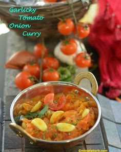 Garlicky tomato onion curry with the right balance of tangy, sweet, garlicky and spicy flavours can be used as a base to all sorts of vegetable, meat, Tofu gravies or can be enjoyed with rice, roti, paratha, idli or dosa.