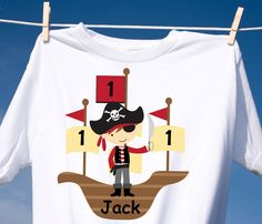 Pirate Ship TShirt or Onesie Girl or Boy by CutiesTieDyeBoutique, $18.00