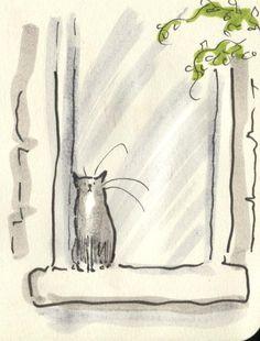 CAT SITTING IN WINDOW, BASKING IN THE SUN……AIN'T LIFE GRAND (??)………..ccp