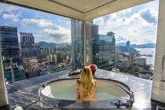 Bathtub Views- The Peninsula Hotel, Hong Kong  www.theroadlestraveled.com