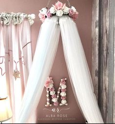 Canopy and matching initial surrounded by flowers - . Canopy and matching initial surrounded by flowers – …, Girls Princess Bedroom, Princess Canopy Bed, Princess Room, Girls Bedroom, Baby Canopy, Childs Bedroom, Canopy Crib, Princess Nursery, Kids Canopy