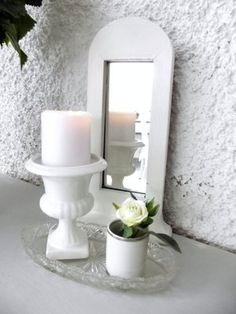 Stilleben - A candle in the mirror  #ljus #spegel #inredning #shabby chick