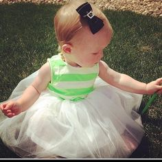 Heart melting image of this sweet baby in her striped tutu style twindollicious dress and hairbow :):)color/sizes start @ 12 mths avaiiill  via LilStylers