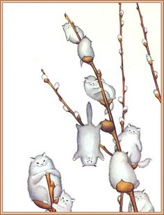 Willowy Kitties, by morreth on LJ cute whimsical illustration of willow catkins made of cats Animal Art, Illustration, Drawings, Cat Art, Cute Art, Art, Artsy, Cat Drawing