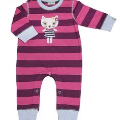Baby Girls Sleepsuit All in one Babygrow Playsuit Pink Striped Kitty Lily /& Jack