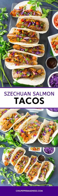 Szechuan Salmon Tacos - These salmon tacos are to die for, with marinated salmon cooked in spicy Szechuan sauce, served on flour tortillas on a bed of caramelized peppers. So delicious. Here is the recipe. #salmon #tacos #spicy #seafood #recipe