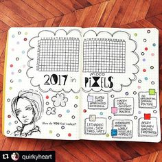 @quirkyheart's cool (shall I say...quirky?) version of (@passioncarnet's original) Year in Pixels .. #Repost @quirkyheart  #bulletjournalcollection