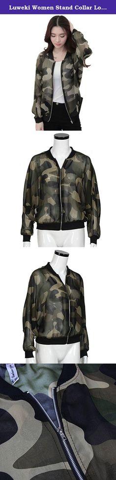 "Luweki Women Stand Collar Long Sleeve Zipper Camouflage Printed Bomber Jacket (L, green). Size Sleeve Length S 67CM/26.4"" 56CM/20.9"" M 68CM/26.8"" 57CM/22.4"" L 69CM/27.2"" 58CM/22.8"" XL 70CM/27.6"" 59CM/23.2""."