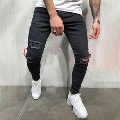 Striped Appliqued Paneled Cutout Side Zipper Pockets Casual Jeans – maxgonia Black Denim Jeans, Casual Jeans, Black Skinnies, Ripped Jeans, Men's Jeans, Vintage Men, Vintage Black, Tattered Jeans, Colored Skinny Jeans