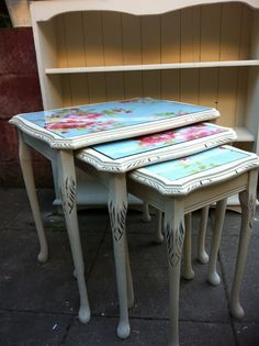 Nest of tables, shabby chic style painted by Florence and Evelyn Refinished Furniture, Furniture Refinishing, Painting Furniture, Upcycled Furniture, Shabby Chic Furniture, Furniture Makeover, Vintage Furniture, Furniture Ideas, Shabby Chic Homes
