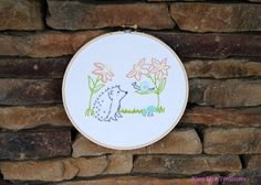 Hedgehog with Snail Ebroidered Hoop