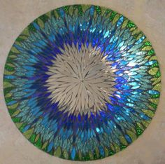 """Custom Made Mosaic Stained Glass Mirror Titled """"Tahitian Splendor""""...This is an all hand cut, handmade mosaic mirror. It is a total of 24"""" circular."""