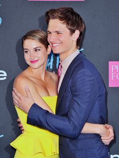 Pin for Later: The Hands-Down Cutest Red Carpet Pictures of 2014 Shailene Woodley and Ansel Elgort Shared a Cute Embrace at the Premiere of The Fault in Our Stars