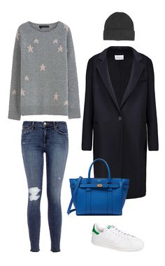 Airport Style from How to Dress Like Meghan Markle 360 Cashmere Stella Sweater, $380; Joe's Jeans The Icon Mid Rise Skinny Ankle, $189; Hat Attack Cashmere Slouchy Beanie, $74; Sandro Mathea Wool-Blend Coat, $327; Mulberry Small Zipped Bayswater, $1,234; Adidas Stan Smith Sneaker, $75