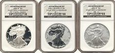 Our Anniversary Three Coin Silver Eagle Set Includes The First Ever Reverse Proof Silver Eagle - Three Different 2006 One Ounce Silver Eagles - Just Sets Issued! Third Anniversary, Coin Store, Silver Eagles, Silver Dollar, Ms, Coins, Money, American, Third Birthday