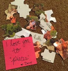 Long distance relationship gift. DIY puzzle with love note and photo glued together