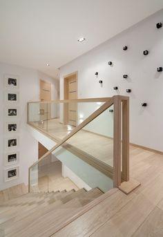 Modern Stairs // minimal wood stairs at the House Interior by Widawscy Studio Architektury Stair Railing Design, Home Stairs Design, Interior Stairs, Home Interior Design, Railings, Railing Ideas, Banisters, Glass Stair Railing, Bannister Ideas