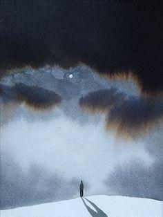 E il Mondo Rimase in Silenzio 3 , 2015, acquarello cm 19 x 14. Nicola Magrin