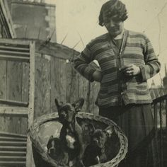 20's Snapshot Photo Woman with Basket Full of Puppies