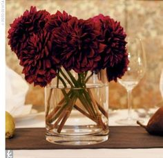 this flower and this color wedding fall ideas / april wedding / wedding color pallets / fall wedding schemes / fall wedding colors november Dahlia Centerpiece, Red Centerpieces, Fall Wedding Centerpieces, Fall Wedding Flowers, Fall Wedding Colors, Floral Wedding, Wedding Decorations, Wedding Ideas, Cranberry Wedding Colors