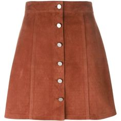 Theory Buttoned a-Line Skirt (55.235 RUB) ❤ liked on Polyvore featuring skirts, brown, brown a line skirt, knee length a line skirt, brown skirt, a-line button front skirt and button skirt